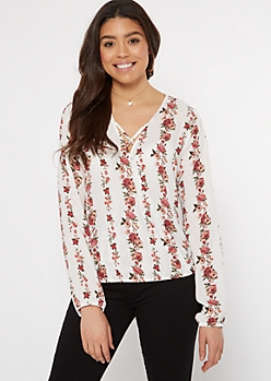 Ivory Floral Print X Front Blouse