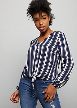 Navy Striped Chiffon Tie Front Top