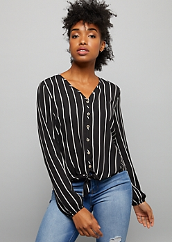 Black Striped Chiffon Tie Front Top