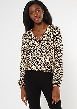 Leopard Print Metallic Thread X Front Blouse