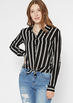Black Striped Tie Front Button Down Shirt