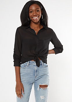 Black Sheer High Low Button Down Shirt