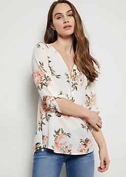 White Floral Print Zip Front Roll Tab Blouse