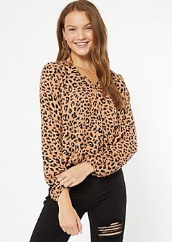 Leopard Print X Front Surplice Blouse