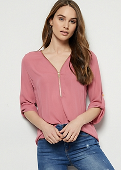 Pink Zip Front Roll Tab Blouse