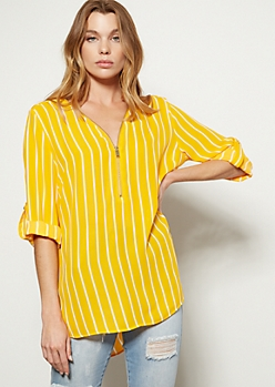 Bright Mustard Striped Zip Front Roll Tab Blouse