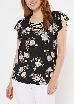 Black Floral Print Strappy Flutter Sleeve Top