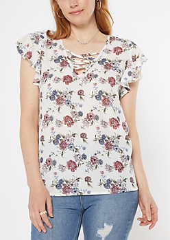 White Floral Print Strappy Flutter Sleeve Top