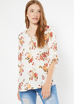 Ivory Floral Print Zip Front Roll Tab Blouse