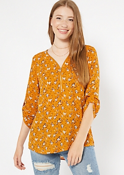 Mustard Floral Print Zip Front Roll Tab Blouse