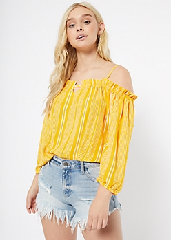 Yellow Striped Ruffled Off The Shoulder Top