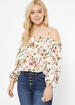 Ivory Floral Print Ruffled Off The Shoulder Top