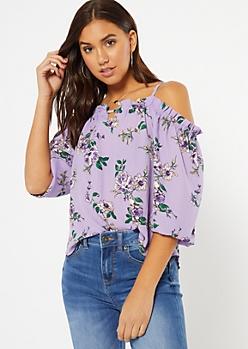 Purple Floral Print Ruffled Cold Shoulder Top