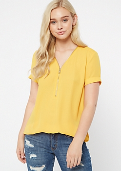 Mustard Zip Front Short Sleeve Blouse