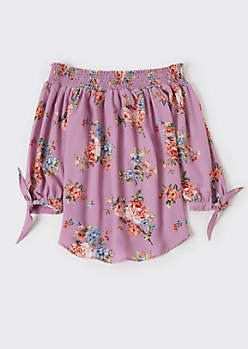 Purple Floral Print Off Shoulder Tie Sleeve Top
