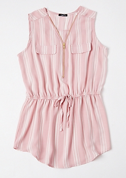 Pink Striped Sleeveless Zip Front Blouse