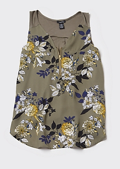 Olive Floral Print Zip Front Tank Top