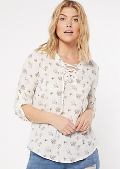 Ivory Floral Print Lace Up Popover Blouse