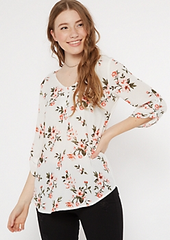 White Floral Print Duo Knit Top