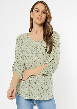Green Floral Print Duo Knit Top