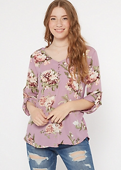 Purple Floral Print Duo Knit Top