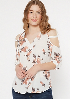 Ivory Floral Print Caged Cold Shoulder Blouse