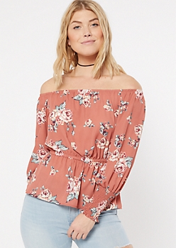 Salmon Floral Print Off The Shoulder Smocked Waist Blouse