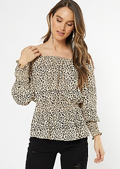 Cheetah Print Off The Shoulder Smocked Waist Blouse