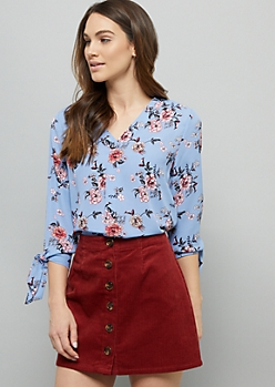 Periwinkle Floral Print V Neck Tie Sleeve Blouse