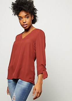 Burnt Orange V Neck Tie Sleeve Blouse