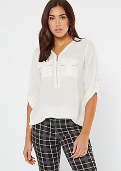 Ivory Half Zip Utility Pocket Blouse