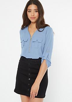 Blue Half Zip Utility Pocket Blouse