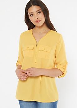Mustard Half Zip Utility Pocket Blouse