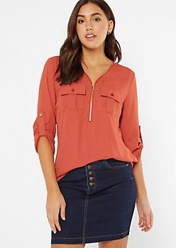 Burnt Orange Half Zip Utility Pocket Blouse