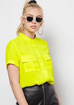 Yellow Stand Collar Button Down Shirt
