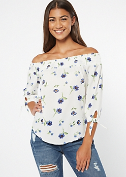 Ivory Floral Print  Tie Sleeve Off The Shoulder Blouse