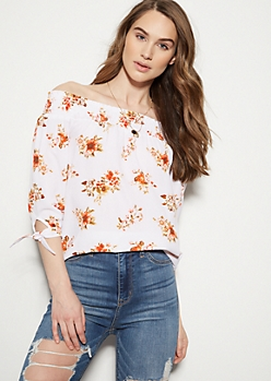 White Floral Print Tie Sleeve Off The Shoulder Blouse