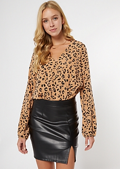 Cheetah Print Surplice Long Sleeve Bodysuit