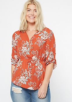 Burnt Orange Floral Print Zip Front Peplum Top