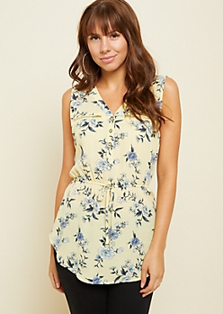 Yellow Floral Print Tie Waist Tank Top