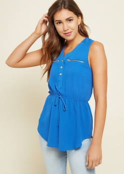 Blue Double Pocket Tie Waist Tank Top