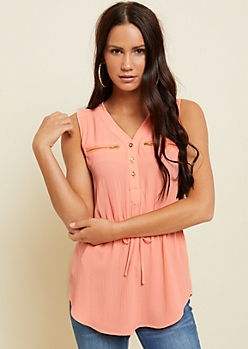 Coral Double Pocket Tie Waist Tank Top