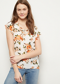 Ivory Floral Print Lattice Flutter Sleeve Top
