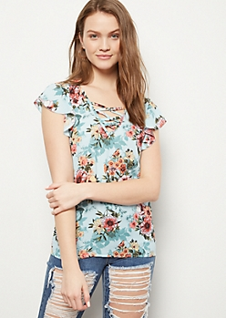 Blue Floral Print Lattice Flutter Sleeve Top