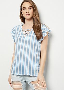 Blue Striped Lattice Flutter Sleeve Top