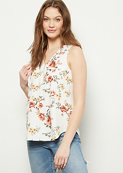 Ivory Floral Print Zippered V Neck Tank Top