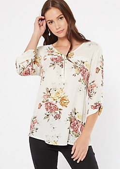 Ivory Floral Print Zippered Roll Tab Blouse