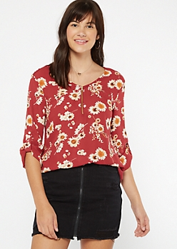 Burgundy Floral Print Zippered Roll Tab Blouse