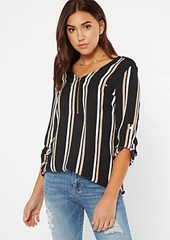 Black Striped Zippered Roll Tab Blouse