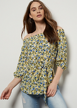 Yellow Floral Print Off The Shoulder Belted Blouse